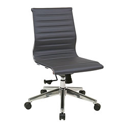 Office Star - OSP Furniture Hospitality 73632 Armless Mid Back Grey Eco Leather Chair - 73632 Armless Mid Back Grey Eco Leather Chair belongs to Hospitality Collection by OSP Furniture Series Armless Mid Back Grey Eco Leather Chair With Polished Aluminum Frame And Base Office Chair (1)