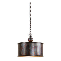 Uttermost - Albiano 1-Light Oxidized Bronze Pendant - This pendant will light up anything you hang it above. And what a statement it makes! Cool in the extreme — yet warm and inviting with its oxidized finish.