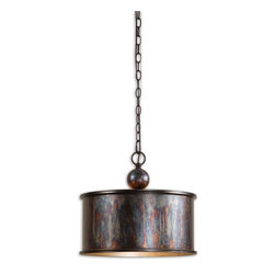 Uttermost - Albiano Oxidized Bronze Pendant - This pendant will light up anything you hang it above. And what a statement it makes! Cool in the extreme — yet warm and inviting with its oxidized finish.