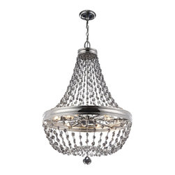 Murray Feiss - Murray Feiss Malia Modern / Contemporary Chandelier X-NP21/4192F - Making a declarative and sparkling statement in any room, the Malia lighting collection is a cool, contemporary interpretation of classic crystal light fixtures, updated with clean lines and featuring fashionable smoke gray crystals accented by a Polished Nickel finish.
