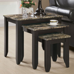 Monarch - Cappuccino / Marble Top 3Pcs Nesting Table Set - When it comes to adorning your living room, this nesting table set is an attractive way to go. The legs and apron of these rectangular pieces are wrapped in a cappuccino color, which blend beautifully with most decors, while the muted shades of cream, onyx and gray of the marble top makes this accent furniture stand out.