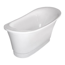 Aquatica - Aquatica PureScape 060 Freestanding Acrylic Bathtub - With sweeping lines reminiscent of an Art Nouveau aesthetic, the Purescape 060 Freestanding Slipper Bathtub effortlessly blends the decadence of a deep, vintage soaking tub with sleek, modern polish. One end of the tub features an elevated edge, offering a haven of heightened seclusion for settling back and escaping the world amid warm water and bubbles.