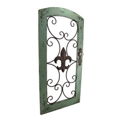 Zeckos - Fleur-De-Lis Decorative Garden Gate Wall Hanging - Create a beautiful focal point in your home or garden with this charming vintage style garden gate wall hanging that will highlight your walls or garden oasis with its classic fleur-de-lis symbol taking center stage in a beautiful metal open scroll-work design within a time-worn verdigris finish wood frame and complete with a clear faceted knob This would make an amazing display in a dining room, atrium and even an office, and easily hangs using just two nails or screw via the attached hangers on the back You could hang two side by side in a window for an alluring window display or even in an open doorway that will make you feel like you are walking into a French country garden This wonderful wall piece measures 32 1/2 inches high, 15 3/4 inches long and 2 inches wide. Whatever room this is displayed in will quickly become your favorite space admired by all