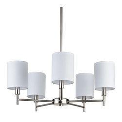 Lights Up! - Walker 5-Arm Chandelier, Candle Clip - Add a bit of rustic elegance to your dining room with an iconic faux bois chandelier. Five shades of the playful pattern complement your choice of brushed nickel or black hardware. It's a fun and modern look.