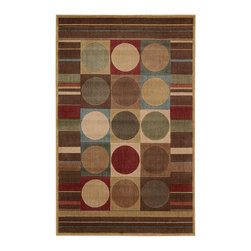 """Nourison - Nourison Somerset ST80 3'6"""" x 5'6"""" Multicolor Area Rug 00469 - Elegance and luxury take a bold and modern turn when horizontal stripes co-mingle with circles in a graphic boxed grid design. Warm, rich hues of cream, crimson, blue, green, olive and beige are rendered life-like thanks to this rug's incredible sheen and deluxe pile design."""