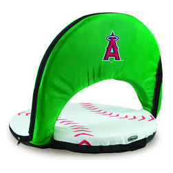 Picnic Time - Los Angeles Angels Oniva Seat Sport Reclining Seat in Baseball Print - Football fans will love this recreational reclining seat that's so lightweight and portable. The Oniva Seat Sport has an adjustable shoulder strap and six adjustable positions for reclining. The seat cover is made of brown polyester and has been designed so that the entire seat looks like a larger than life football! The bottom of the seat is black dimpled PVC so as not to soil easily, the frame is steel, and the seat is cushioned with high-density PU foam, which provides hours of comfortable sitting. The Oniva Sport - Football is great for the beach, the park, or as an indoor gaming seat and makes the perfect gift for fans of the great sport Americans call football!; Decoration: Digital Print