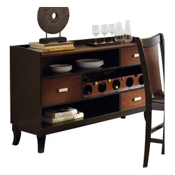 "Steve Silver Furniture - Steve Silver Oakton Server with Wine Storage in Black and Chestnut - The rich, modern-retro style of the Oakton Dining Collection, with its sculptural details and easy functionality, makes it a stand out. The Oakton server has three spacious drawers for storing linens and tableware, two shelves, wine storage, and a 54"" x 18"" serving surface. Quite an impressive complement to the Oakton dining table."