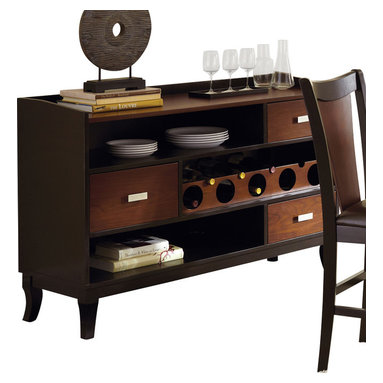 """Steve Silver Furniture - Steve Silver Oakton Server with Wine Storage in Black and Chestnut - The rich, modern-retro style of the Oakton Dining Collection, with its sculptural details and easy functionality, makes it a stand out. The Oakton server has three spacious drawers for storing linens and tableware, two shelves, wine storage, and a 54"""" x 18"""" serving surface. Quite an impressive complement to the Oakton dining table."""