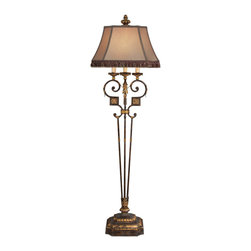 Fine Art Lamps - Castile Floor Lamp, 230920ST - This Castilian-inspired floor lamp is full of romantic details, from the decorative antiqued iron base with gilded leaf and medallion accents to the hand-sewn silk shade with tassel fringe and braided trim. Its perfect blend of old-world elegance and Mediterranean warmth will translate well in a romantic bedroom or living room.