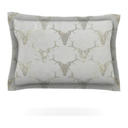 "Kess InHouse - Michelle Drew ""Gilded Stags"" Gray Metallic Pillow Sham (Cotton, 40"" x 20"") - Pairing your already chic duvet cover with playful pillow shams is the perfect way to tie your bedroom together. There are endless possibilities to feed your artistic palette with these imaginative pillow shams. It will looks so elegant you won't want ruin the masterpiece you have created when you go to bed. Not only are these pillow shams nice to look at they are also made from a high quality cotton blend. They are so soft that they will elevate your sleep up to level that is beyond Cloud 9. We always print our goods with the highest quality printing process in order to maintain the integrity of the art that you are adeptly displaying. This means that you won't have to worry about your art fading or your sham loosing it's freshness."