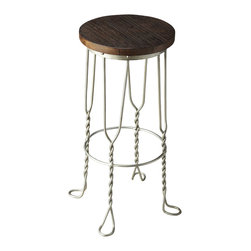 Butler Furniture - Recycled Wood / Wrought Iron Ice Cream Parlor Bar Stool - Designed with immodest distinction, this Ice Cream Parlor / Soda Pop bar chair proves good design is all in the details. Twisted iron legs ending in small footprints conjoined by an iron circle base for strength and a convenient footrest make for a compelling aesthetic. Atop the antique silver finished iron base is a distressed recycled seat to complete the look.