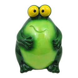 Incredibly Cute Jumbo Funny Frog Money Bank Piggy - This adorable jumbo sized cold cast resin funny frog money bank really brightens up a room. The frog measures 13 1/2 inches tall, 10 inches long and 10 inches wide. The bank empties via a twist-off plastic piece on the bottom. It is hand-painted, and makes a great gift for frog lovers.
