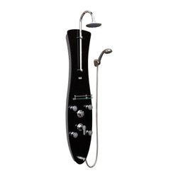 PULSE ShowerSpas - PULSE ShowerSpas 1006-B-CH Molokai B Black Glass Shower Panel - PULSE ShowerSpas 1006-B-CH Molokai B Black Glass Shower Panel