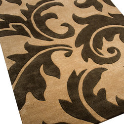Jaipur - Aloha Charcoal Rug, 5'x8' - Take a sprinkling of tropical leaves, blow them up to epic proportions, and you get a rug that's bold and graphic, but rooted in nature. It's a crossover approach that feels both contemporary and traditional at once. And it's made all the more appealing by the luxurious softness of hand-tufted 100 percent New Zealand wool.