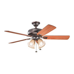 """BUILDER FANS - BUILDER FANS 339401OBB Saxon Premier 52"""" Transitional Ceiling Fan - Warm tones give this Kichler Lighting ceiling fan a masculine look with traditional influencing. From the Saxon Collection, it blends an Oil Brushed Bronze finish with warm wood tones and four umber alabaster glass shades."""