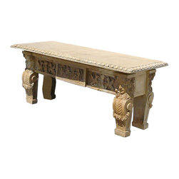 European Style Marble Both Sides Hand Carving Display Stand Table - Sell as it is. Look at this European style garden table which is made of marble. The front and back of table have very detail carving on it, even the legs. This table was broken, but it was restored by manufactory. Most of detail shows on the photos. It will be beautiful to put in your garden.