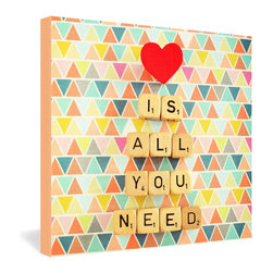 "DENY Designs - Happee Monkee Love Is All You Need Gallery Wrapped Canvas - Colorful patterns and playful scrabble tiles capture the ageless quality of the Beatles' timeless message that ""love is all you need."" This 3-D-looking canvas art piece from Happee Monkee helps keep the spirit alive."