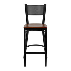 Flash Furniture - Flash Furniture Hercules Series Black Back Metal Bar Stool in Cherry - Flash Furniture - Bar Stools - XUDG60116GRDBARCHYWGG - This heavy duty commercial metal bar stool is ideal for Restaurants Hotels Bars Pool Halls Lounges and in the Home. The lightweight design of the stool makes it easy to move around. The tubular foot rest not only supports your feet but acts as an additional reinforcement that helps secure the legs. You will not regret the purchase of this bar stool that is sure to complement any environment to fill the void in your decor. [XU-DG-60116-GRD-BAR-CHYW-GG]