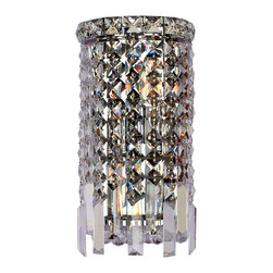 """Worldwide Lighting - Cascade 2 Light Chrome Finish Crystal Wall Sconce Light ADA 6"""" W Small - This stunning 2-light wall sconce only uses the best quality material and workmanship ensuring a beautiful heirloom quality piece. Featuring a radiant chrome finish and finely cut premium grade crystals with a lead content of 30%, this elegant wall sconce will give any room sparkle and glamour. Worldwide Lighting Corporation is a privately owned manufacturer of high quality crystal chandeliers, pendants, surface mounts, sconces and custom decorative lighting products for the residential, hospitality and commercial building markets. Our high quality crystals meet all standards of perfection, possessing lead oxide of 30% that is above industry standards and can be seen in prestigious homes, hotels, restaurants, casinos, and churches across the country. Our mission is to enhance your lighting needs with exceptional quality fixtures at a reasonable price."""