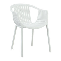 Modway Furniture - Modway Hammock Dining Armchair in White - Dining Armchair in White belongs to Hammock Collection by Modway Retreat back to the outdoors with the splendid embrace of the Hammock chair. Made from durable molded plastic, Hammock is suitable for all weathers and conditions. Notable for its distinctive woven pattern and wide arching support, enjoy the festivities while snugly seated in this contemporary chair. Set Includes: One - Hammock Green Plastic Stackable Outdoor Modern Dining Chair Arm Chair (1)