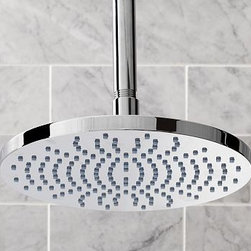 """Hayden Rain Shower Head, Polished Nickel finish - Defined by superior construction and versatility, our Hayden Rain Showerhead is crafted of cast brass in your choice of four finishes that complement the look of any bath. The expansive oval design creates a gentle rain-like stream for a soothing shower experience. 9"""" diameter, 7.75"""" high Built with solid brass components. Creates a wide rain-like water stream. Professional installation required. View our {{link path='pages/popups/fb-bath.html' class='popup' width='480' height='300'}}Furniture Brochure{{/link}}."""