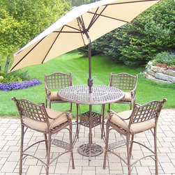 Oakland Living - 7-Pc Outdoor Bar set - Includes bar table with umbrella opening and four bar stools with cushions, and 9 ft. tilt and crank umbrella and stand. Fade, chip and crack resistant. Traditional lattice pattern. Metal hardware. Warranty: One year. Made from rust-free cast aluminum. Antique bronze hardened powder coat finish. Minimal assembly required. Table: 42 in. Dia. x 44 in. H (60 lbs.). Stool: 21.5 in. W x 22 in. D x 46 in. H (47 lbs.)This 7 piece Bar set will be a beautiful addition to your patio, balcony or outdoor entertainment area. Bar sets are perfect for any small space, or to accent a larger space. The Oakland elite collection combines old world charm and modern designs giving you a rich addition to any outdoor setting. Each piece is hand cast and finished for the highest quality possible.