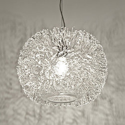 """Terzani - Sea Urchin Suspension Light - Pushing the boundaries of design and artistry; drawing from the haute couture designer's unique universe, Sea Urchin features over 1500, translucent crystal ''pins'' seemingly suspended around the bulb, casting a dynamic shadow around the room. The perfect accessory for your well-curated home. Designed by: Maurizio Galante Features: -Number of bulbs: 1.-Bulb type: Eco A19; E26 halogen.-ETL, cETL Certified.-Collection: Sea Urchin.-Country of Origin: Italy.-Distressed: No.-Shade Material: Crystal.-Shade Shape: Sphere.-Material: Crystal.-Room Use: Dining Room / Living Room / Office / Hallway / Entryway.-Swarovski Crystal: No.-Recycled Content: No.-Eco-Friendly: No.-Number of Lights: 1.-Number of Tiers: 1.-Bulb Type: E26 Eco Halogen A19.-Bulb Included: No.-Adjustable: No.-Dimmable: No.-Multicolor-Changing LED: No.-Solar Power: No.-Waterproof: No.-Outdoor Use: No.-Light Direction: Ambient.-Plug-In: No.-Voltage: 120 V.-Wattage per Bulb: 72 W.Specifications: -72 Watts.-Title Twenty Four: No.-Energy Star Compliant: No.-Damp, Dry or Wet Location Listed: Dry.-UL Listed: No.-cUL Listed: No.-ADA Compliant: No.Dimensions: -Fixture Height: 74.8.-Fixture Width (Size: 15.7"""" Diameter): 15.7.-Fixture Height (Size: 15.7"""" Diameter): 15.7.-Shade Width (Size: 15.7"""" Diameter): 15.7.-Shade Depth (Size: 15.7"""" Diameter): 15.7.-Assembled Weight (Size: 15.7"""" Diameter): 12.1.-Fixture Width (Size: 23.6"""" Diameter): 23.6.-Fixture Height (Size: 23.6"""" Diameter): 23.6.-Shade Width (Size: 23.6"""" Diameter): 23.6.-Shade Depth (Size: 23.6"""" Diameter): 23.6.-Assembled Weight (Size: 23.6"""" Diameter): 15.Assembly: -Assembly Required: Yes.Warranty: -Product Warranty: 1 Year."""