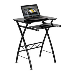 Flash Furniture - Black Tempered Glass Computer Desk with Pull-Out Keyboard - This attractive Glass Computer Desk provides a compact solution for your computer furniture needs. The glass top and keyboard shelf provides a modern look along with the cross frame design.
