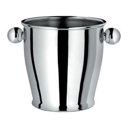 Alessi - Alessi Ice Bucket - Make Happy Hour at home a classy affair with this stainless steel, mirror-polished ice bucket. Harken back to cocktail parties that were really swingin', while keeping a modern, clean look to your chilled drinks. The spherical handles make it easy to take the bar wherever you want it to go!