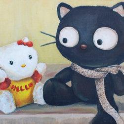 "Baby Hello Kitty Talking With Chococat (Original) by Sandra Fremgen - ""Baby Hello Kitty talking with Chococat"" an Original Oil Painting by Sandra Fremgen"