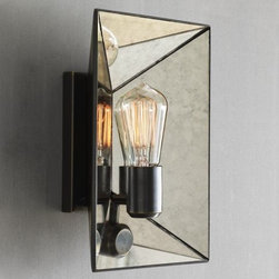 Faceted Mirror Sconce - These mirror sconces would look stunning on either side of a vanity and mirror. The antique details add a feminine touch to the linear shape.