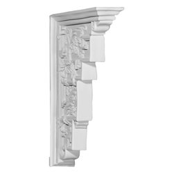 """Ekena Millwork - 3 1/4""""W x 12 1/8""""D x 18 1/4""""H Genevieve Corbel - 3 1/4""""W x 12 1/8""""D x 18 1/4""""H Genevieve Corbel. These corbels are truly unique in design and function. Primarily used in decorative applications urethane corbels can make a dramatic difference in kitchens, bathrooms, entryways, fireplace surrounds, and more. This material is also perfect for exterior applications. It will not rot or crack, and is impervious to insect manifestations. It comes to you factory primed and ready for your paint, faux finish, gel stain, marbleizing and more. With these corbels, you are only limited by your imagination."""