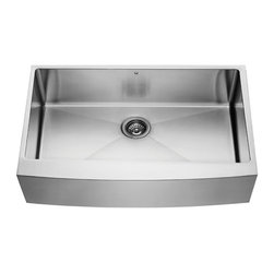 VIGO Industries - VIGO 36-inch Farmhouse 16 Gauge Single Bowl, Kitchen Sink, Grid and Strainer - Give your kitchen a makeover starting with a VIGO stainless steel farmhouse kitchen sink set with matching grid and strainer.