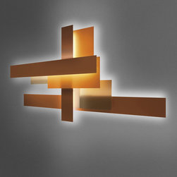 Foscarini - Foscarini Fields Wall Lamp - The Fields wall sconce is available in four sizes and two colors, white and orange. This fixture is created in methacrylate and lacquered aluminum.Fields 1lamp requires one 80W mini Bi-Pin type T5 electronic ballast fluorescent bulb. Fields2lamp requires one 54W mini Bi-Pin type T5 electronic ballast fluorescent bulb. Fields3lamp requires one 39W mini Bi-Pin type T5 electronic ballast fluorescent bulb. Fieldslamp requires one 80W, one 54W,and one 39Wmini Bi-Pin type T5 electronic ballast fluorescent bulbs. UL listed. Manufactured by Foscarini.Designed in 2007.