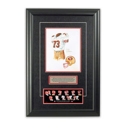 """Heritage Sports Art - Original art of the NFL 2000 San Francisco 49ers uniform - This beautifully framed piece features an original piece of watercolor artwork glass-framed in an attractive two inch wide black resin frame with a double mat. The outer dimensions of the framed piece are approximately 17"""" wide x 24.5"""" high, although the exact size will vary according to the size of the original piece of art. At the core of the framed piece is the actual piece of original artwork as painted by the artist on textured 100% rag, water-marked watercolor paper. In many cases the original artwork has handwritten notes in pencil from the artist. Simply put, this is beautiful, one-of-a-kind artwork. The outer mat is a rich textured black acid-free mat with a decorative inset white v-groove, while the inner mat is a complimentary colored acid-free mat reflecting one of the team's primary colors. The image of this framed piece shows the mat color that we use (Red). Beneath the artwork is a silver plate with black text describing the original artwork. The text for this piece will read: This original, one-of-a-kind watercolor painting of the 2000 San Francisco 49ers uniform is the original artwork that was used in the creation of this San Francisco 49ers uniform evolution print and tens of thousands of other San Francisco 49ers products that have been sold across North America. This original piece of art was painted by artist Nola McConnan for Maple Leaf Productions Ltd. Beneath the silver plate is a 3"""" x 9"""" reproduction of a well known, best-selling print that celebrates the history of the team. The print beautifully illustrates the chronological evolution of the team's uniform and shows you how the original art was used in the creation of this print. If you look closely, you will see that the print features the actual artwork being offered for sale. The piece is framed with an extremely high quality framing glass. We have used this glass style for many years with excellent result"""