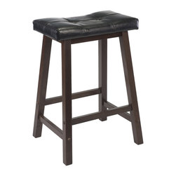 "Winsomewood - Mona 24"" Cushion Saddle Seat Stool, Black Faux Leather, Wood Legs, Rta - Update kitchen stools with this stylish Saddle Stool with Black Faux Leather cushion seat. Solid wood base in Antique Walnut Finish. Ready to assemble."