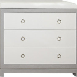 Willow Glen Changing Table - This contemporary changing table is beautiful for any contemporary nursery. The polished nickel ring pulls add a bit of regency to the look and can be accented in any color combination. The tray is removable and the three wood drawers are fully finished with under mount soft closing drawer slides.