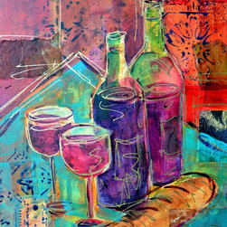 """Bread and Wine"" Artwork - ""Bread and Wine"" is an original wine painting on canvas.  It measures 14""x11""x.75"" and is accented with collage elements as well as metallic gold pen line work.  The painting wraps around the sides of the stretcher bars and does not need to be framed.  A grouping of these wine paintings would look great in a kitchen, bar or den."