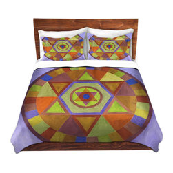 DiaNoche Designs - Duvet Cover Microfiber by Jennifer Baird - Mandala II D - DiaNoche Designs works with artists from around the world to bring unique, artistic products to decorate all aspects of your home.  Super lightweight and extremely soft Premium Microfiber Duvet Cover (only) in sizes Twin, Queen, King.  Shams NOT included.  This duvet is designed to wash upon arrival for maximum softness.   Each duvet starts by looming the fabric and cutting to the size ordered.  The Image is printed and your Duvet Cover is meticulously sewn together with ties in each corner and a hidden zip closure.  All in the USA!!  Poly microfiber top and underside.  Dye Sublimation printing permanently adheres the ink to the material for long life and durability.  Machine Washable cold with light detergent and dry on low.  Product may vary slightly from image.  Shams not included.