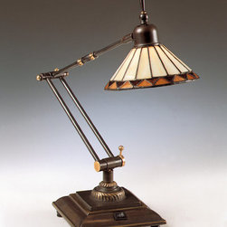 Quoizel - Quoizel TF7110Z Medici Bronze Pueblo Stained Glass / Tiffany Desk Lamp - Specifications:  Height: 26.5 inches Width: 6 inches Item Weight: 8.00 LBS  Features:  Solid Brass Material Uses one 50 watt T3 Bi Pin, Bulb Supplied Stunning Medici Bronze Finish Tiffany Glass Shade