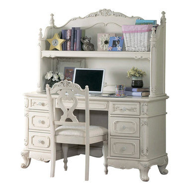 Homelegance - Homelegance Cinderella 3-Piece Kids' Desk Set in White - The Cinderella collection is your little Child's dream. The Victorian styling incorporates floral motif hardware, ecru painted finish and traditional carving details that will create the feeling of a room worth of a fairy tale princess.