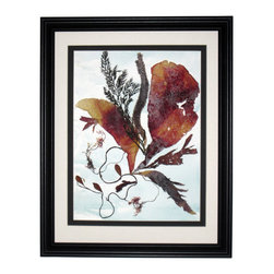 "Ocean Inspiration, Oshibana Art - Oshibana (pressed plants) artwork with double mats in a 16"" x 20"" black frame."