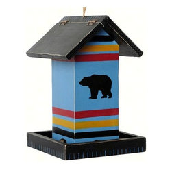 Outside Inside - Blue Bear Blanket Birdfeeder - This Blue Bear Blanket Stripe Bird Feeder serves as a classic symbol of wilderness freedom. Featuring a large black bear set against a vivid, blue backdrop, this feeder brings a casual yet tasteful charm to your outdoor living areas. It includes drainage