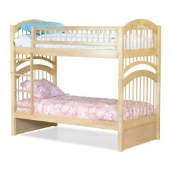 Atlantic Furniture - Windsor Twin Over Twin Bunk Bed in Natural Maple - This elegant mission style bed is accented by a stylish ladder/safety rail combination and is sure to be the ideal choice when decorating a child's room. This bunk bed is made of solid eco-friendly hardwood and features 26 steel reinforcement points.