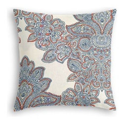 Coral, Blue & Aqua Paisley Scroll Custom Throw Pillow - The every-style accent pillow: this Simple Throw Pillow works in any space.  Perfectly cut to be extra fluffy, you'll not only love admiring it from afar but snuggling up to it too! We love it in this coral and seafoam scroll where paisley meets damask and eclectic modern meets traditional.