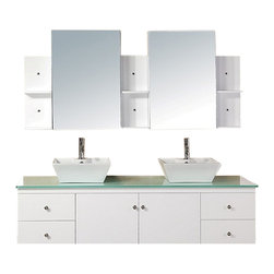 "Design Element - Design Element Portland 72"" Wall Mount Double Vessel Sink Vanity Set - White - The Portland 71"" bath vanity set is elegantly constructed of solid hardwood. The tempered glass countertop brings a clean and contemporary look to any bathroom. Seated at the base of the double ceramic designer sinks are chrome finished pop up drains designed for easy one touch draining. Two matching framed mirrors and shelves are included. Built into the vanity are four additional drawers and two cabinets adorned with satin nickel hardware."