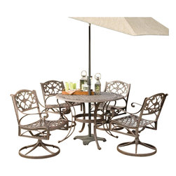 "Home Styles - Home Styles Biscayne 5PC 42"" Round Outdoor Dining Set in Bronze Rust - Home Styles - Patio Dining Sets - 5555305 - Home Styles Biscayne 5PC Set includes 42 inch Round Outdoor Dining Table and Four Swivel Chairs. Set is constructed of cast aluminum with a Rust bronze finish. Features include hand antiqued powder coat finish sealed with a clear coat to protect finish attractively patterned table top has center opening to accommodate umbrellas and nylon glides on all legs.   Features:"