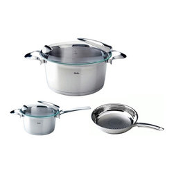 "Fissler - Fissler Stainless Steel Solea 5-Piece Cookware Set - Set includes the following:    (01) Fry pan 9.6"" with Novogrill frying surface    (01) High Sauce Pan, 2 qt. with Lid    (01) Stew pot with Lid 5, qt.Stainless steel pan with Novogrill frying surface is particularly suitable for crispy low-fat frying with a grill effect. Stainless steel stay-cool handles. Fully-encapsulated CookStar all-stove base, made of an extra thick aluminum core and high-quality 18/10 stainless steel, ensures that the base that will never separate, warp, or develop hot spots, even on induction stoves. Equipped with large true stay-cool handles for safe and easy handling. Safe for use on induction stoves. Fully oven and dishwasher-safe. Practical stacking function works even with pot the same size. Limited Lifetime warranty..  Made in Germany."