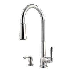 Price Pfister - Pfister GT529-MDS Mystique One Handle Pulldown Kitchen Faucet - Price Pfister GT529-MDS is, Mystique Series, or 4-hole kitchen pull-down faucet with matching soap dispenser. Can be mounted with deckplate for 4-hole configurations and without deckplate for 2-hole configurations. Includes adjustable spray volume control..