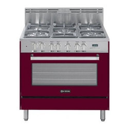 """Verona - VEFSGE365BU 36"""" Freestanding Dual Fuel Range with 5 Sealed Burners  4.0 cu. ft. - The Verona VEFSGE365 36 in Single Oven Dual Fuel Range 5-burner double oven duel fuel range offers flexibility and efficiency Chrome knobs and handles porcelain cast-iron grates and caps and EZ clean porcelain oven surface allow effortless glide so y..."""